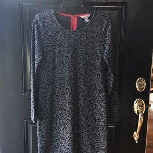 Banana Republic Gray and Black leopard print dress